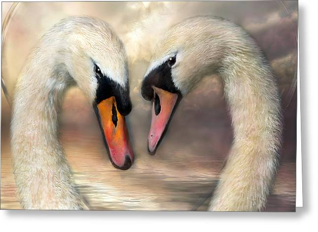 Swan Love Greeting Card by Carol Cavalaris