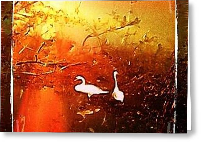 Swan Lovers  Greeting Card by Yvonne  Kroupa