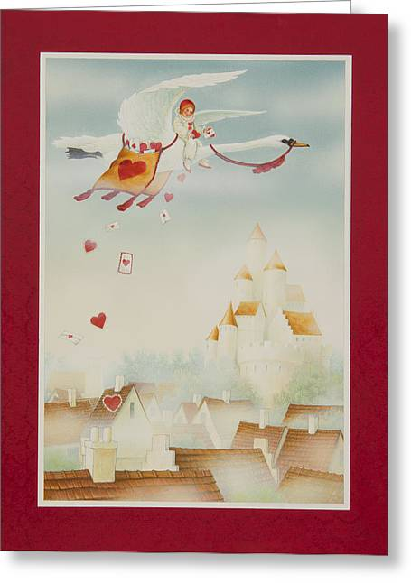 Flying Swan Greeting Cards - Swan Mail Greeting Card by Lynn Bywaters