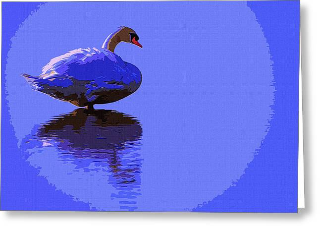Luna Mixed Media Greeting Cards - Swan Moon Greeting Card by Brian Stevens