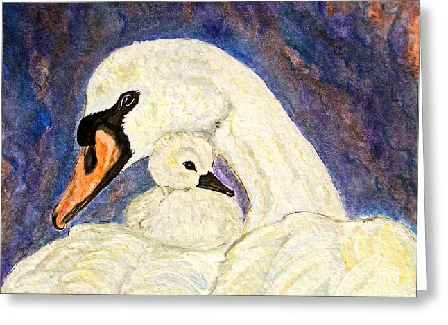 Water Fowl Greeting Cards - Mothers Love Swan and Baby Painting Greeting Card by Ella Kaye Dickey