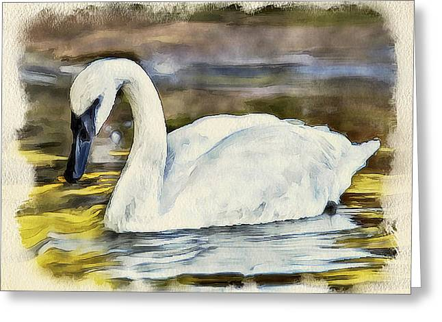 Swan Fantasy Art Greeting Cards - Swan on the Lake Greeting Card by Yury Malkov