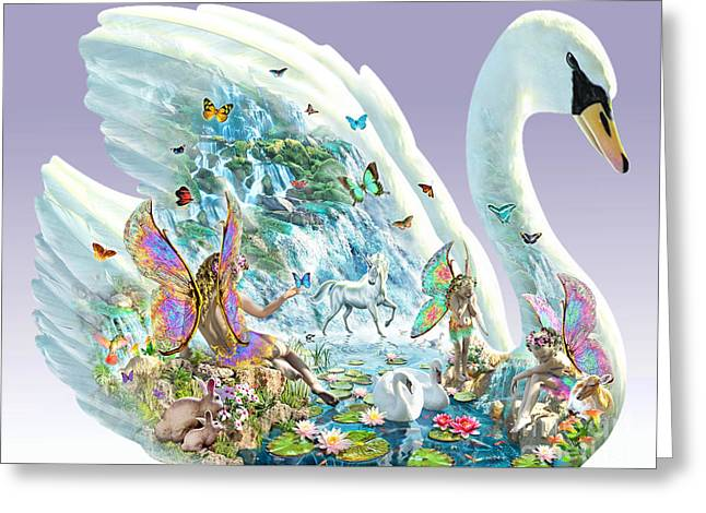 Swans... Greeting Cards - Swan Puzzle Greeting Card by Adrian Chesterman