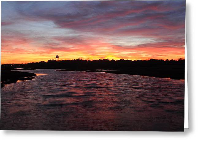Swan River Sunset Greeting Card by Luke Moore