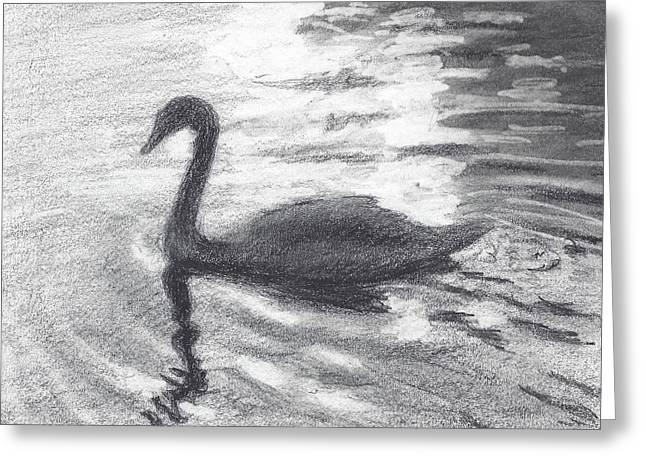Interior Still Life Drawings Greeting Cards - Swan Greeting Card by Sarah Parks