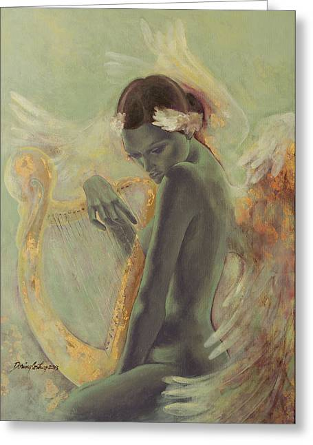 Song Paintings Greeting Cards - Swan Song Greeting Card by Dorina  Costras