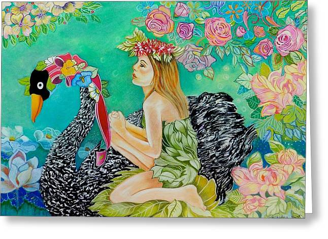 Swan Fantasy Art Greeting Cards - Swan Song Greeting Card by Susan Robinson