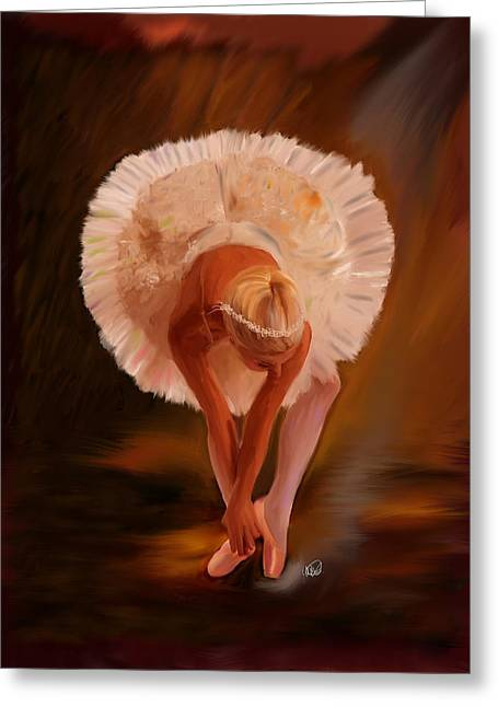 Ballerina Artwork Greeting Cards - Swan Warming Up 1 Greeting Card by Angela A Stanton