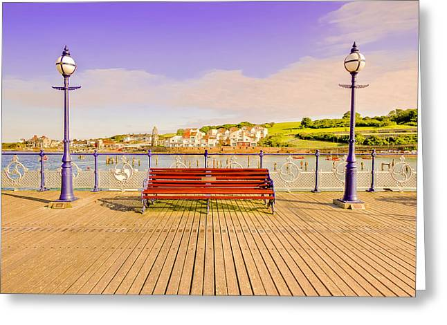 Oils Greeting Cards - Swanage Pier England - Fine Art Print Greeting Card by David Dwight