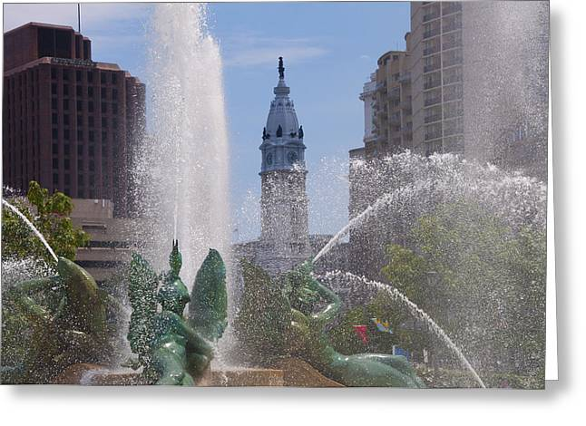 Swann Greeting Cards - Swann Fountain in Philadelphia Greeting Card by Bill Cannon