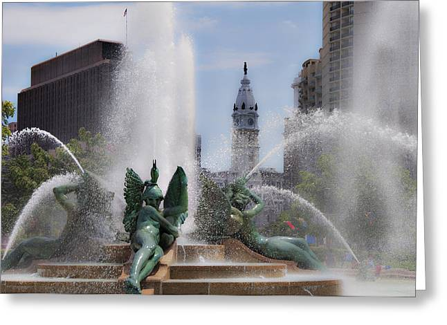 Swann Greeting Cards - Swann Fountain in Philadelphia Pa Greeting Card by Bill Cannon