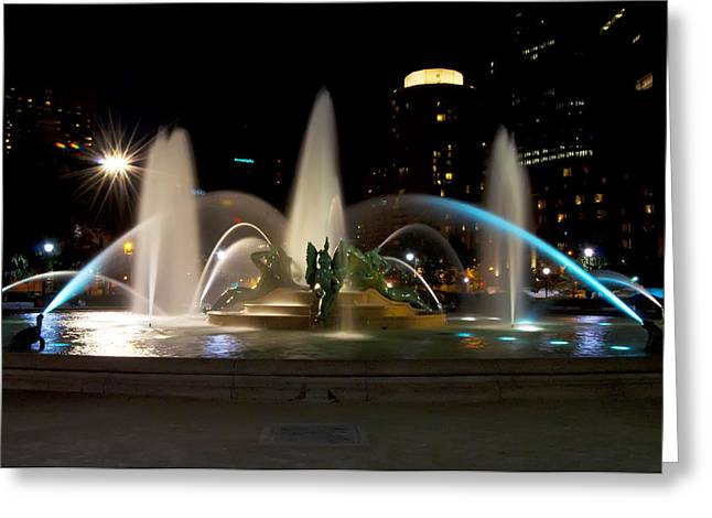 Swann Greeting Cards - Swann Fountain Philadelphia at Night Greeting Card by Bill Cannon