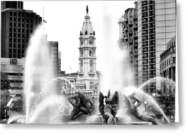 Swann Greeting Cards - Swann Fountain Philadelphia Pa in Black and White Greeting Card by Bill Cannon