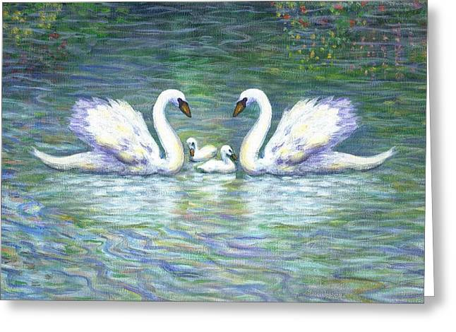 Folk Art Greeting Cards - Swans and Two Babies Greeting Card by Linda Mears