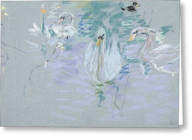 Signature Pastels Greeting Cards - Swans Greeting Card by Berthe Morisot