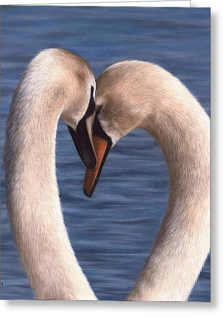 Muted Paintings Greeting Cards - Swans Painting Greeting Card by Rachel Stribbling