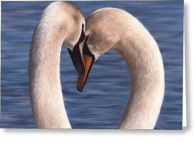 Swans Painting Greeting Card by Rachel Stribbling