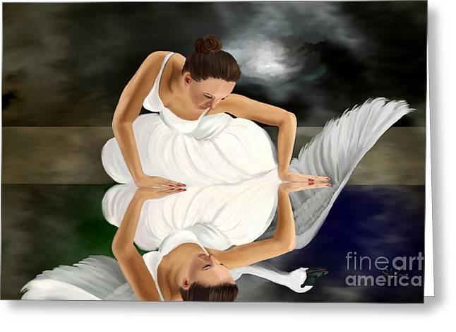 Swans Greeting Card by Sydne Archambault