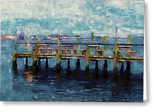 Sea Platform Paintings Greeting Cards - Swansboro Dock 1 Greeting Card by Lanjee Chee