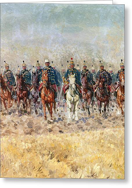 Cavalry Greeting Cards - Swansong Of The Hussars, 1931 Schwanengesang Greeting Card by Ludwig Koch