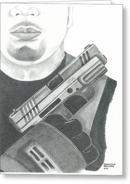 Police Officer Drawings Greeting Cards - S.W.A.T. Team Leader holding a Springfield Armory XD 40 cal weapon Greeting Card by Sharon Blanchard