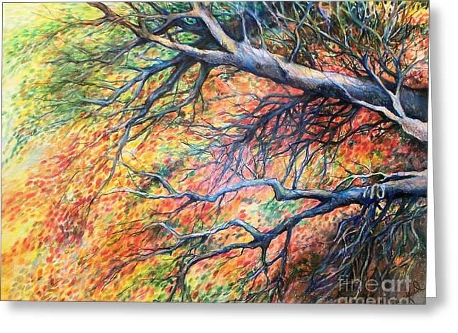 Organic Drawings Greeting Cards - Sway Dancing Trees Greeting Card by Linda Shackelford