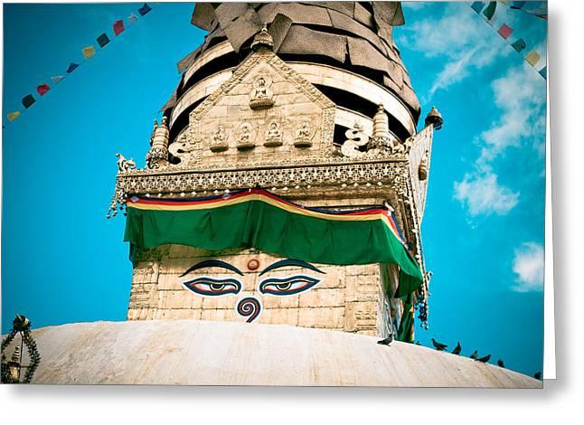 Artmif Greeting Cards - Swayambhunath Stupa in Nepal Greeting Card by Raimond Klavins