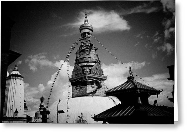 Famous Pyrography Greeting Cards - Swayambhunath temple black and white Greeting Card by Raimond Klavins
