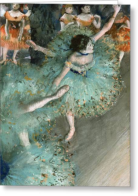 Gestures Greeting Cards - Swaying Dancer .Dancer in Green Greeting Card by Edgar Degas