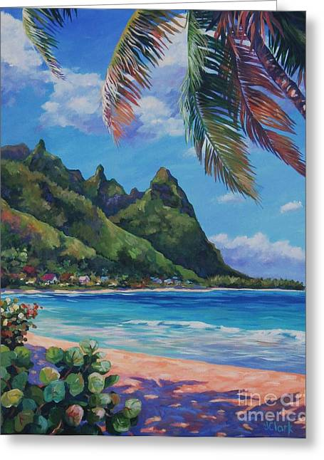 North Shore Paintings Greeting Cards - Swaying Palm on Makua Beach Greeting Card by John Clark