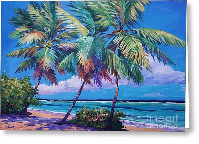 Carlton Greeting Cards - Swaying Palms  Greeting Card by John Clark