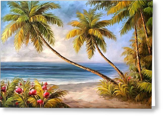 Tropical Island Greeting Cards - Swaying Palms Greeting Card by Studio Artist