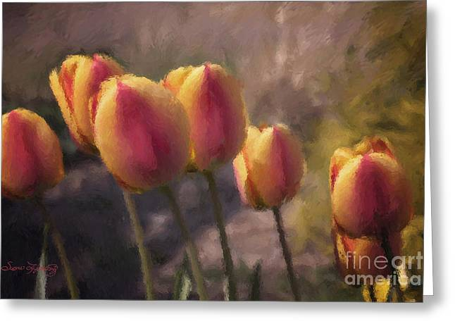 Spring Bulbs Greeting Cards - Swaying Tulips Greeting Card by Susan  Lipschutz