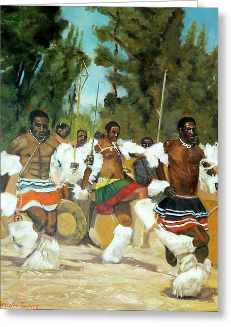 African Heritage Greeting Cards - Swazi Dancers Greeting Card by Malcolm Turner