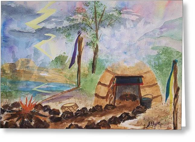 Sweat Lodge Greeting Card by Ellen Levinson