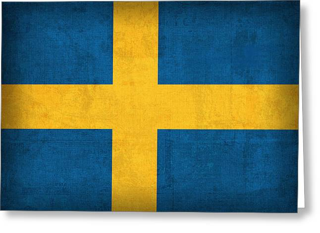 Sweden Greeting Cards - Sweden Flag Vintage Distressed Finish Greeting Card by Design Turnpike