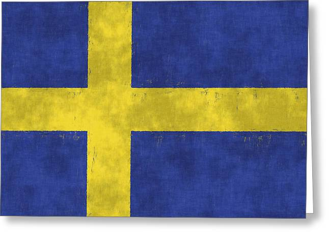 Sweden Digital Art Greeting Cards - Sweden Flag Greeting Card by World Art Prints And Designs