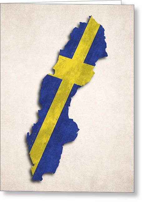 Sweden Map Art With Flag Design Greeting Card by World Art Prints And Designs