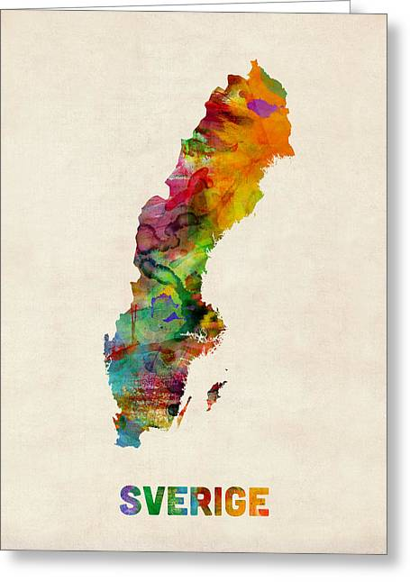 Overs Greeting Cards - Sweden Watercolor Map Greeting Card by Michael Tompsett