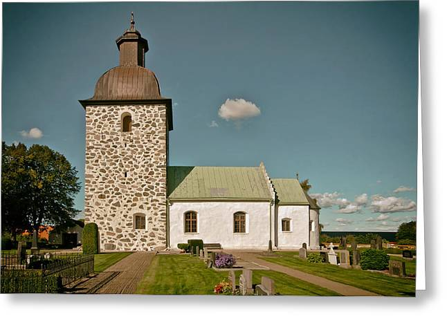 Headstones Greeting Cards - Swedish Church Greeting Card by Mountain Dreams