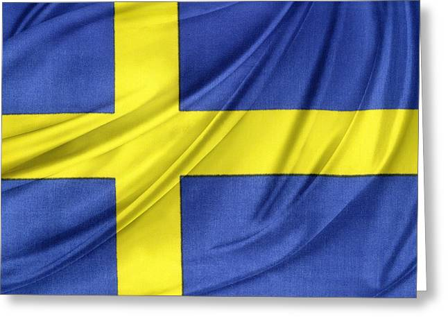 Cloth Greeting Cards - Swedish flag Greeting Card by Les Cunliffe