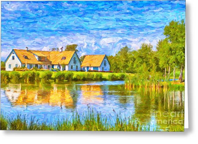 Swedish lakehouse Greeting Card by Antony McAulay