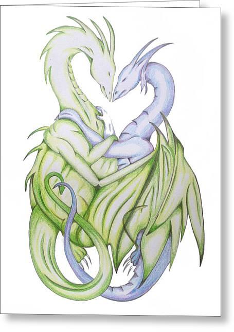 Breathing Mixed Media Greeting Cards - Swedish Love Dragons Greeting Card by Ian  King