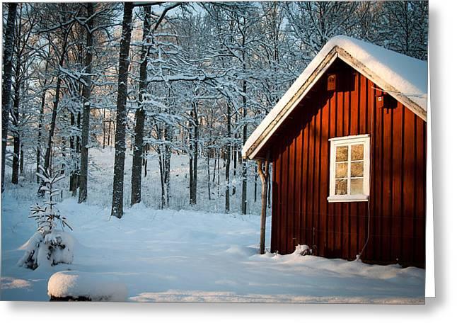 Robert Hellstrom Greeting Cards - Swedish Winter Greeting Card by Robert Hellstrom