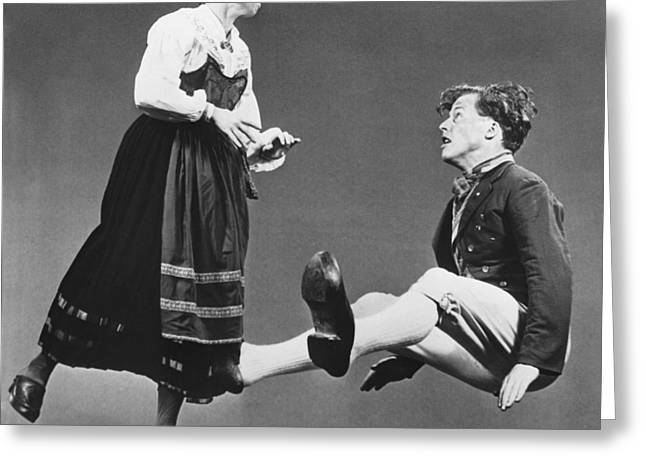 Swedish Wooden Shoe Dance Greeting Card by Underwood Archives