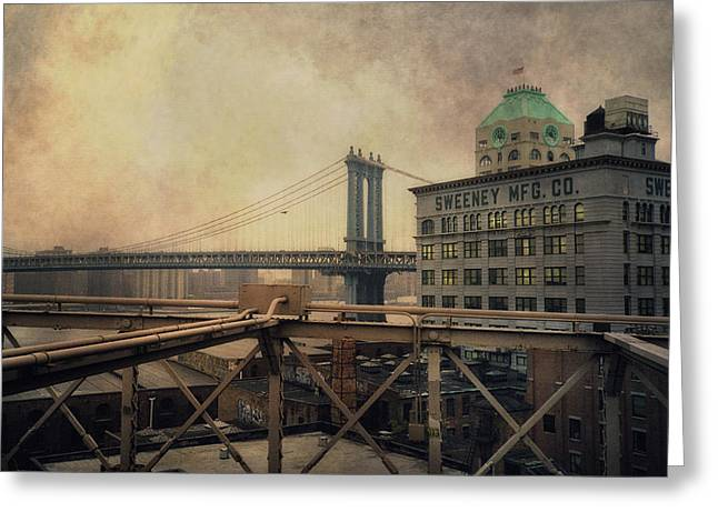 Manufacturing Greeting Cards - Sweeney Manufacturing and the Manhattan Bridge - New York City Greeting Card by Joann Vitali