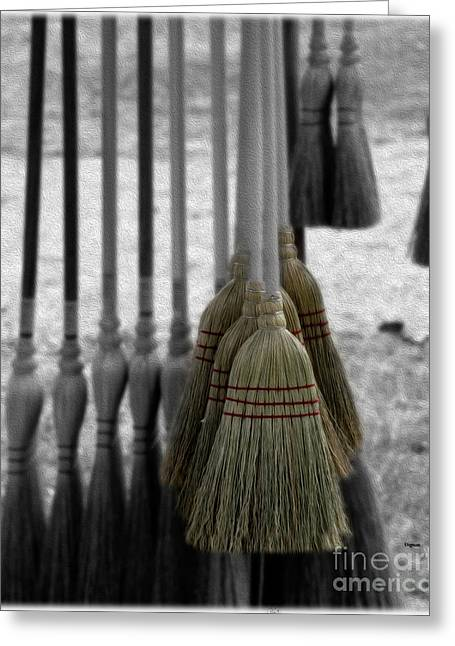 Broom Broom Greeting Cards - Sweeping Art  Greeting Card by Steven  Digman