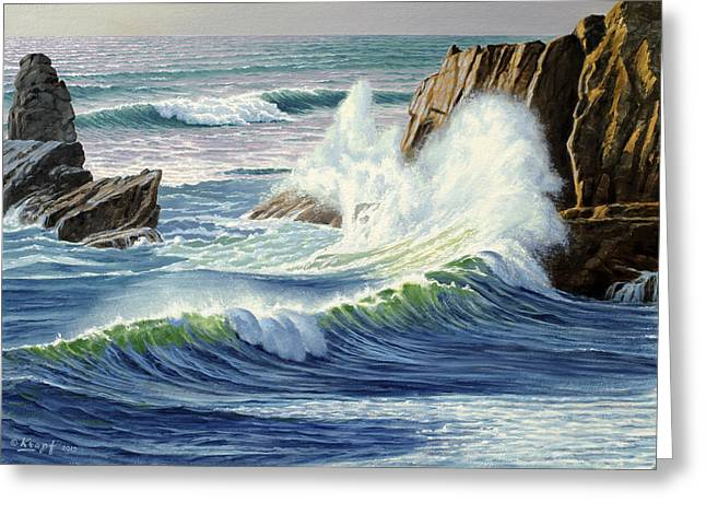 Oregon Coast Greeting Cards - Sweeping Surf Greeting Card by Paul Krapf