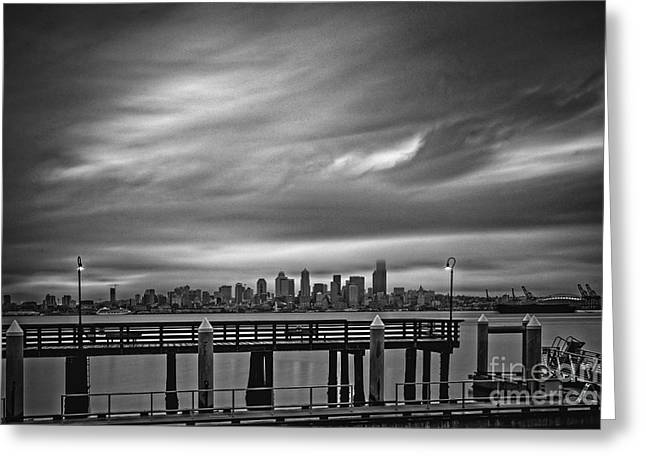 Sweeping Vista Of Downtown Seattle From Alki Beach - Seattle Washington Greeting Card by Silvio Ligutti