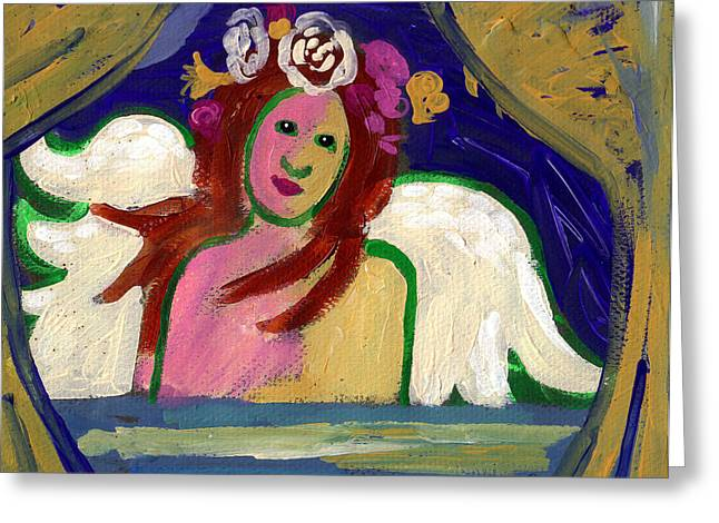 Reds Gold Greens White Blues Greeting Cards - Sweet Angel Abstract Greeting Card by Genevieve Esson